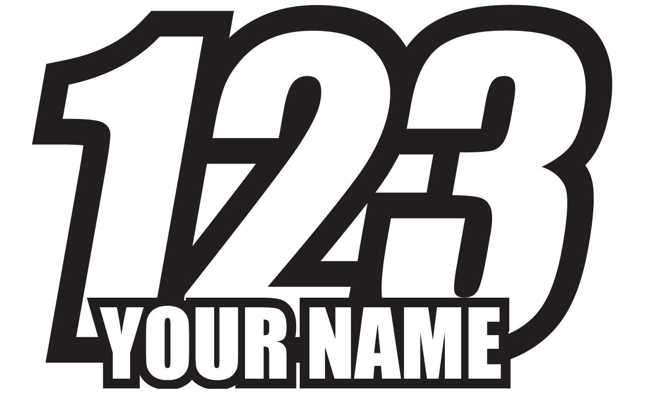 3x custom mx racing number plate car dirt bike motorcycle decal sticker type1